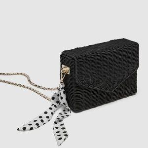 NWT Black Zara Raffia Cross Body Bag